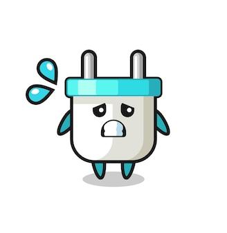 恐れるジェスチャーで電気プラグのマスコットキャラクター