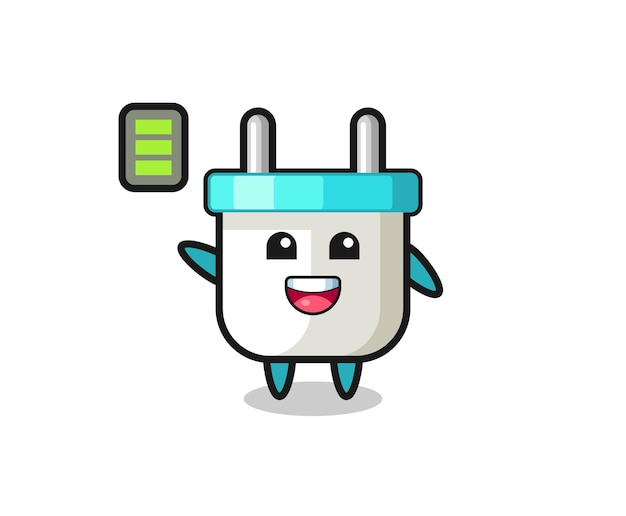 활기찬 몸짓으로 전기 플러그 마스코트 캐릭터