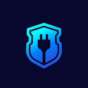 Electric plug and shield vector icon