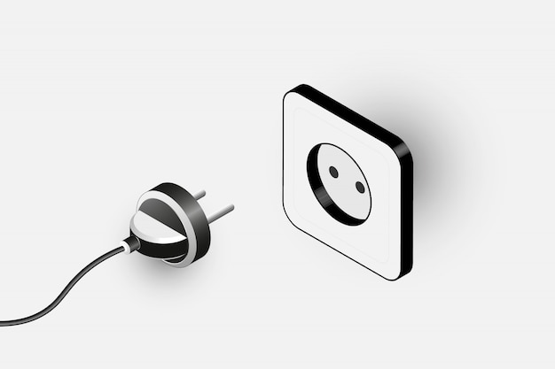 Electric plug and socket isometric monochrome illustration