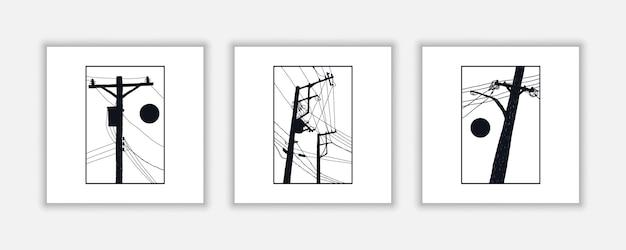 Электрический столб рисованной иллюстрации для плаката, отделка стен, и т. д.