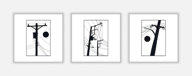 Electric pole hand drawn illustrations for poster, wall decoration, etc