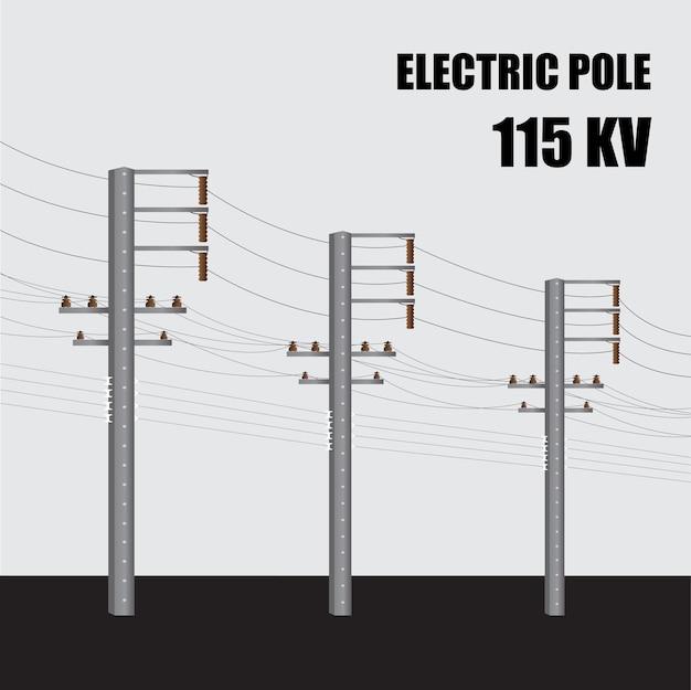 電柱。タイの高電圧パワーコンクリートポール115kv。送電。
