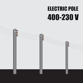 電柱。タイの高電圧パワーコンクリートポール400-230v。送電。