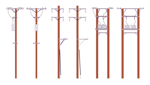Electric poles set. utility wires for electrical power distribution in city, cable television and telephone. landscape architecture and urban  concept.   style cartoon illustration