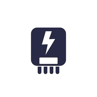 Electric power control system icon on white