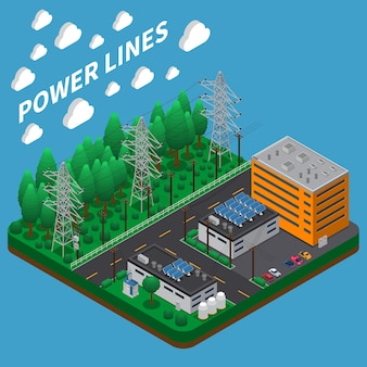 Electric power transmission isometric composition with overhead high voltage line on big tall metal towers