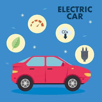 Electric red car with icon set vector design