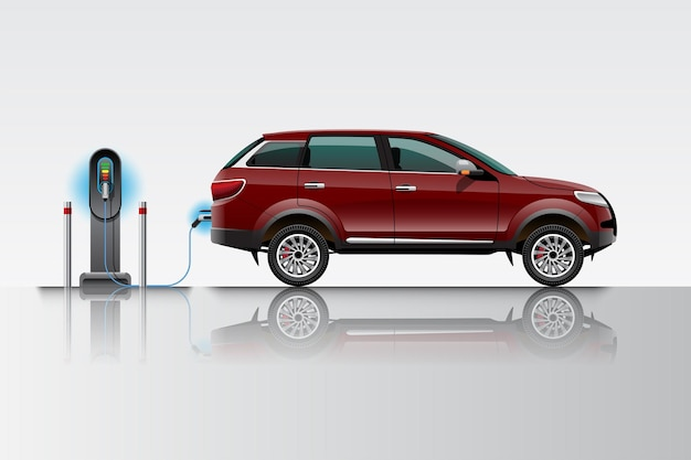 Electric red suv car charging at charger station. ev vehicle. isolated on grey background.