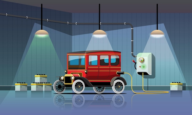 Electric retro car is charging in garage power station, vector illustration flat design