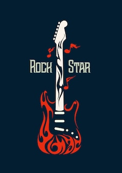 Electric rock guitar vector image