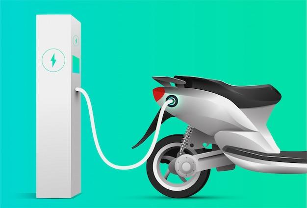 充電ステーションで充電する電動スクーター。電気自動車のコンセプトです。図。 Premiumベクター