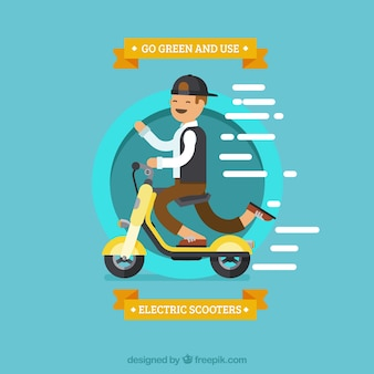 Electric scooter design with boy