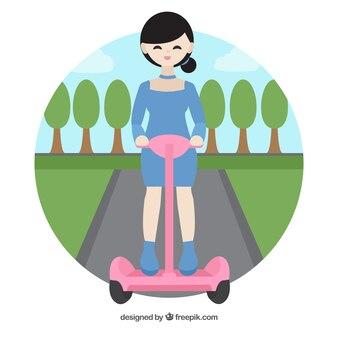 Электрический дизайн скутера со счастливой девушкой