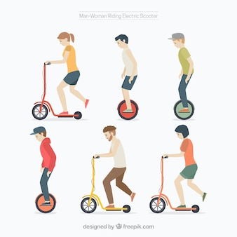 Electric scooter design with six persons