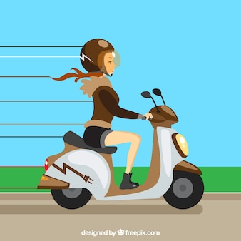 Electric scooter design with woman riding fast