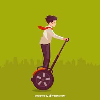若い男と電気スクーターのデザイン