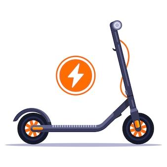 도시에서 전기 스쿠터 대여. 충전기를 친환경 차량에 연결하십시오. 평면 일러스트.