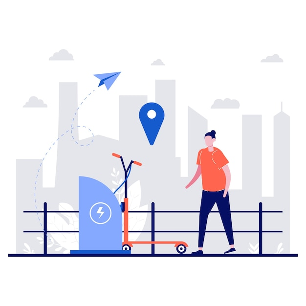 전기 스쿠터 스테이션, 에코 도시 교통, 작은 캐릭터로 전자 스쿠터 공유 서비스 개념. 사람들은 전화를 들고 렌탈 스쿠터를 찾기 위해지도를 사용합니다.