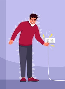 Поражение электрическим током испытает полуцветную иллюстрацию rgb бытовая авария. электротравма. молодой человек пострадал от электричества мультипликационный персонаж на фиолетовом фоне