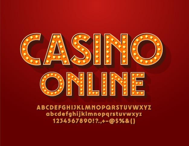 Электрический знак казино онлайн. винтажный элегантный шрифт. лампа ретро буквы алфавита и цифры