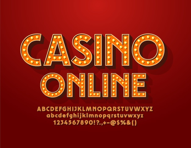 Electric sign casino online. vintage elegance font. lamp retro alphabet letters and numbers