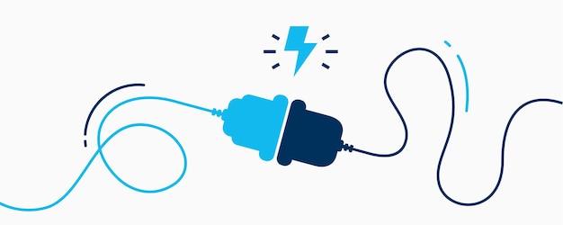Электрическая розетка с вилкой. концепция подключения и отключения. понятие о соединении с ошибкой 404. электрическая вилка и розетка отключены. провод, кабель отключения энергии