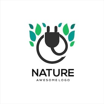 葉のロゴのレトロなヴィンテージの電気ソケット