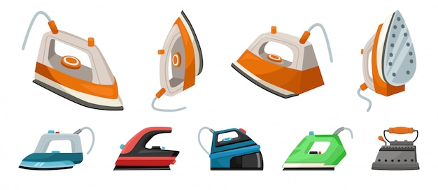 Electric steam iron vector icon.illustration of isolated cartoon icon home hot press for clothes. vector illustration laundry appliance for clothes.isolated cartoon set of electric hot home iron.