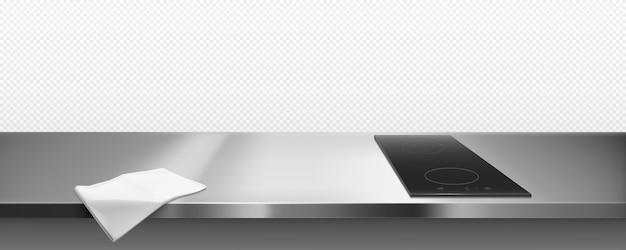 キッチンカウンタートップビュー、境界線の電気ストーブ