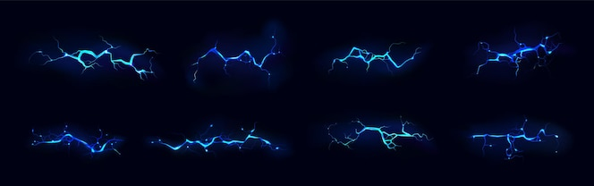 Set di fulmini elettrici di colore blu durante la notte