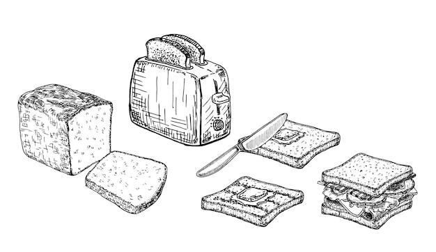 구운 빵 조각이있는 전기 토스터