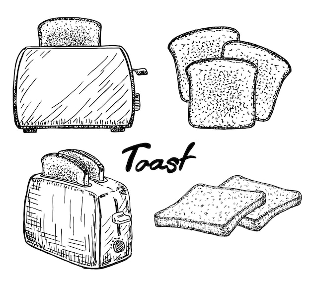 Electric toaster with a slice of toasted bread sandwich cooking breakfast vector sketch