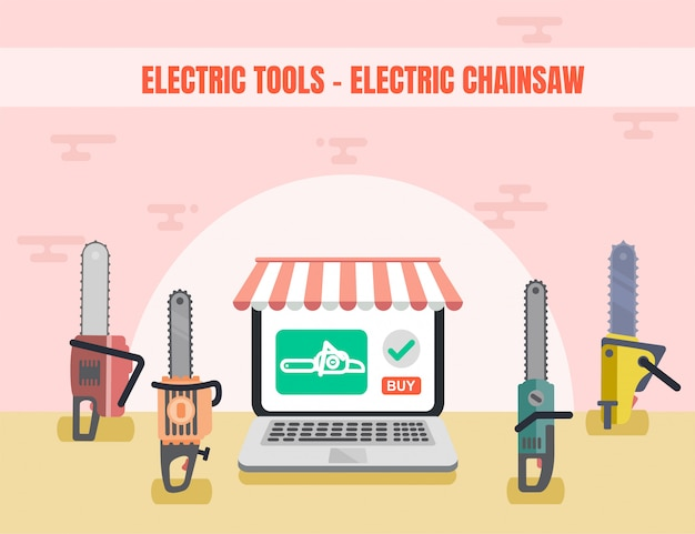 Electric tools chainsaw flat shop landing page