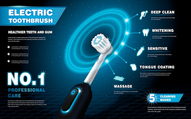 電動歯ブラシの広告、光るリング効果のある鮮やかなブラシは、さまざまなクリーニングモードのイラスト、ハイテク製品を示しています