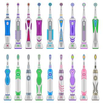 Electric toothbrush cartoon set icon. illustration dental brush on white background. isolated cartoon set icon electric toothbrush.