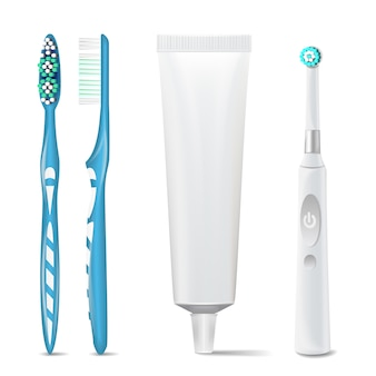Electric toothbrush with toothpaste tube