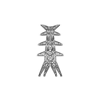 전기 타워 손으로 그려진된 개요 낙서 아이콘입니다. 흰색 배경에 고립 된 인쇄, 웹, 모바일 및 infographics에 대 한 전원 라인 철탑 벡터 스케치 그림.