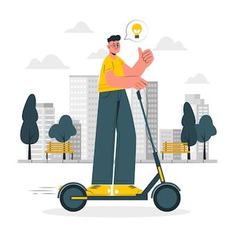 Иллюстрация концепции электрического транспорта