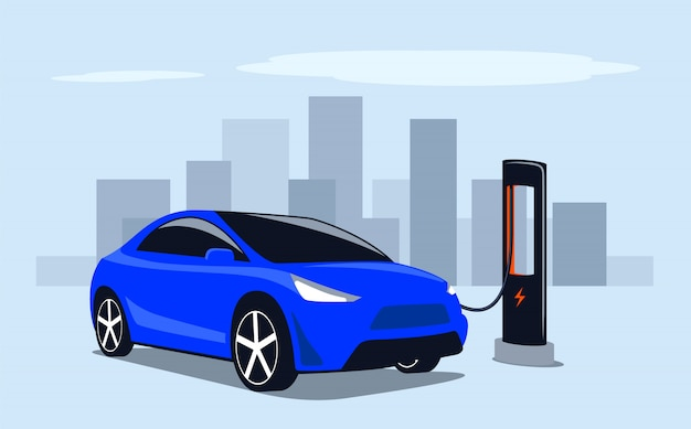 Electric transport. fast charge a car with electricity at a public power station in the city.