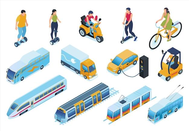 Изометрические набор электротранспорта Premium векторы