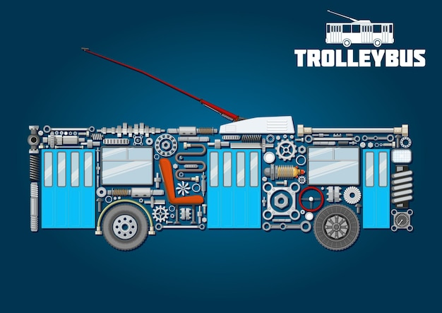 Electric trolleybus mechanical silhouette icon of detailed main components and parts with boarding and exit doors, trolley poles
