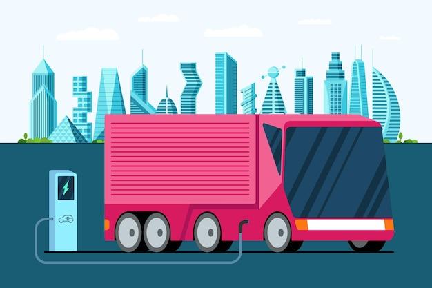 미래 도시 현대에 충전 스테이션 하이브리드 미래 세미 트레일러 차량에서 전기 트럭