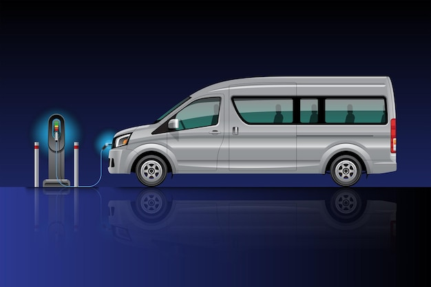 Electric van charging at charger station. ev vehicle. isolated on blue-black background.