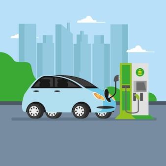 도시에서 충전하는 전기 자동차 및 역