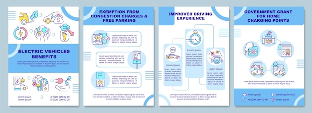 Electric vehicle benefits brochure template. flyer, booklet, leaflet print, cover design with linear icons. ev government support. vector layouts for presentation, annual reports, advertisement pages