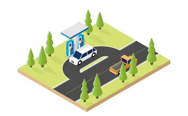 전기 자동차 충전기 아이소메트릭 그래픽