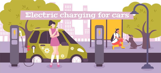 Composizione piatta per la ricarica di veicoli elettrici con testo e paesaggio all'aperto con punto di ricarica e illustrazione del conducente femminile