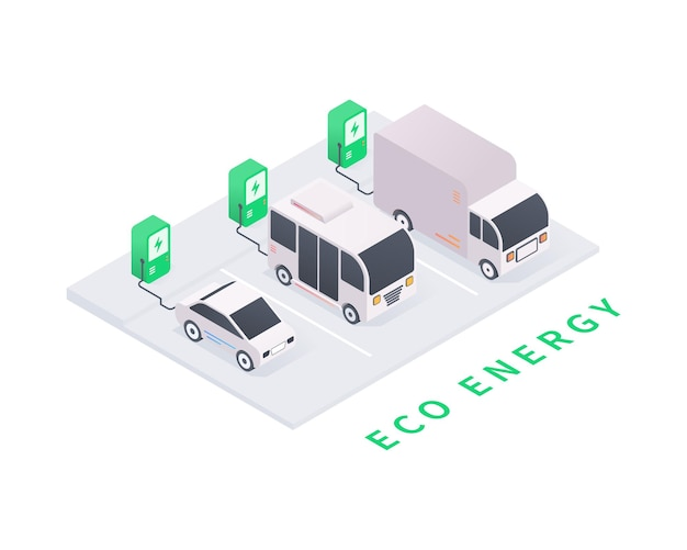 Electric vehicle charging station with car bus truck