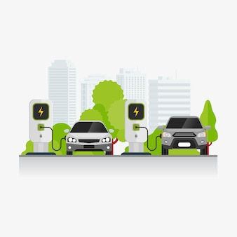 Electric vehicle charging technology at parking area illustration